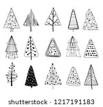 15 designs of doodle christmas... | Shutterstock .eps vector #1217191183