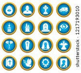 funeral ritual service icons... | Shutterstock . vector #1217193010