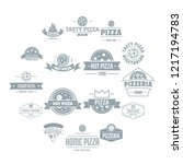 pizzeria logo icons set. simple ... | Shutterstock . vector #1217194783