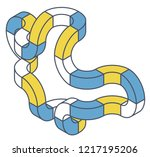 abstract curved vector shape... | Shutterstock .eps vector #1217195206
