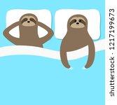 sloth family love couple... | Shutterstock .eps vector #1217199673