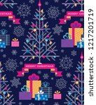 christmas tree  gifts and... | Shutterstock .eps vector #1217201719