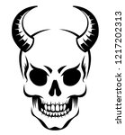 demon skull with horns ... | Shutterstock .eps vector #1217202313