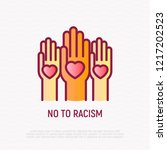 no to racism thin line icon ... | Shutterstock .eps vector #1217202523