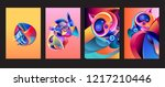 vector abstract 3d colorful... | Shutterstock .eps vector #1217210446