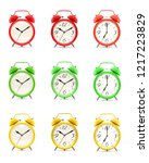 set of nine vintage alarm...   Shutterstock . vector #1217223829