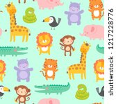 cute jungle animals seamless... | Shutterstock .eps vector #1217228776
