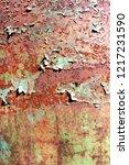 rusty painted metal texture ...   Shutterstock . vector #1217231590