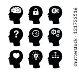 head brain vector icons set | Shutterstock .eps vector #121723516