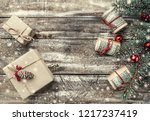 xmas background of old wood.... | Shutterstock . vector #1217237419