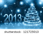 the best christmas blue tree... | Shutterstock . vector #121725013