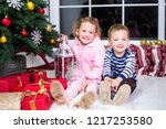 two small children  brother and ... | Shutterstock . vector #1217253580