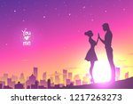 man and woman holding hands and ... | Shutterstock .eps vector #1217263273