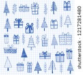 hand drawn set of christmas... | Shutterstock .eps vector #1217281480