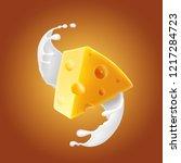 triangular piece of cheese in... | Shutterstock .eps vector #1217284723
