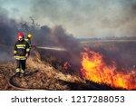 firefighters battle a wildfire | Shutterstock . vector #1217288053