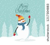 flat design christmas card with ... | Shutterstock .eps vector #1217304883