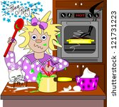 the frazzled cook.  a frazzled...   Shutterstock . vector #121731223