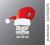 vector red santa hat label... | Shutterstock .eps vector #1217323273