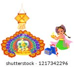 diwali holiday with girl... | Shutterstock .eps vector #1217342296