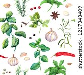 spices and herbs  cayenne ... | Shutterstock . vector #1217343409