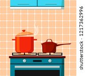 the stove with one burning ring ... | Shutterstock .eps vector #1217362996