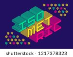 isometric 3d font design  three ... | Shutterstock .eps vector #1217378323