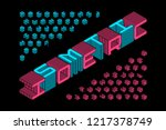 isometric 3d font design  three ... | Shutterstock .eps vector #1217378749