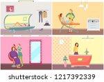spa salon  hair removal on legs ... | Shutterstock .eps vector #1217392339