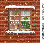 christmas window in brick wall. ... | Shutterstock .eps vector #1217402590
