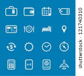 Travel Icons with Blue Background - stock vector