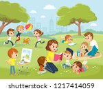 parents with kids at the park.... | Shutterstock .eps vector #1217414059