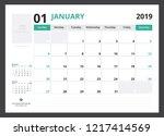 2019 calendar planner corporate ... | Shutterstock .eps vector #1217414569