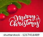 merry christmas lettering on a... | Shutterstock .eps vector #1217416489