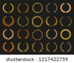 vector laurel autumn wreaths on ...   Shutterstock .eps vector #1217422759