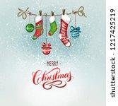 christmas socks and balls.... | Shutterstock . vector #1217425219