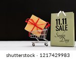 shopping cart and shopping bags ... | Shutterstock . vector #1217429983