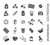 medicine icons. black flat... | Shutterstock .eps vector #1217431516
