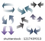 set of 3d pairs of arrows... | Shutterstock .eps vector #1217439313