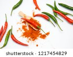 close up chili peppers isolated ... | Shutterstock . vector #1217454829