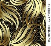 vintage gold 3d floral vector...   Shutterstock .eps vector #1217458543