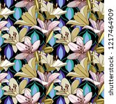 lilies on vintage seamless... | Shutterstock .eps vector #1217464909