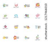 baby shop logo set vector | Shutterstock .eps vector #1217466010