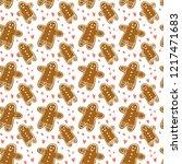 christmas hand drawn pattern...   Shutterstock .eps vector #1217471683