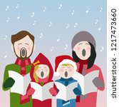 family in winter clothes... | Shutterstock .eps vector #1217473660