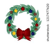 christmas wreath with balls and ... | Shutterstock .eps vector #1217477620
