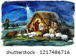 traditional christmas scene... | Shutterstock . vector #1217486716