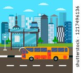 bus stop and  city bus driving... | Shutterstock .eps vector #1217496136