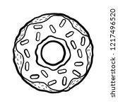 black and white sketchy donut...   Shutterstock .eps vector #1217496520