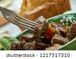 scouse   lamb or beef stew  ...   Shutterstock . vector #1217517310
